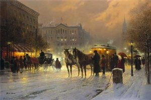 Horse Trolley on Park Row by G. Harvey