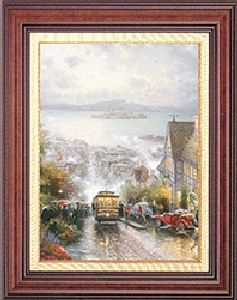 Hyde Street & the Bay, SF Classic 20x16 Burl Frame