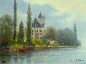 Springtime in Europe - Lake Chateau by G. Harvey