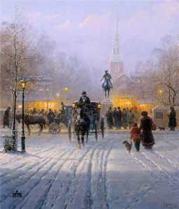 Winter Evening in Old Boston by G. Harvey